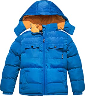 Boy's Quilted Padded Winter Coat Warm Fleece Jacket with Removable Hood