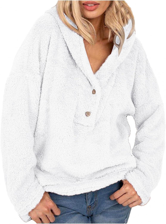 Haheyrte Hoodies for Women Womens Casual Long Sleeve Warm Fuzzy Fleece Buttons Hooded Sweatshirt Hoodie Pullover Tops