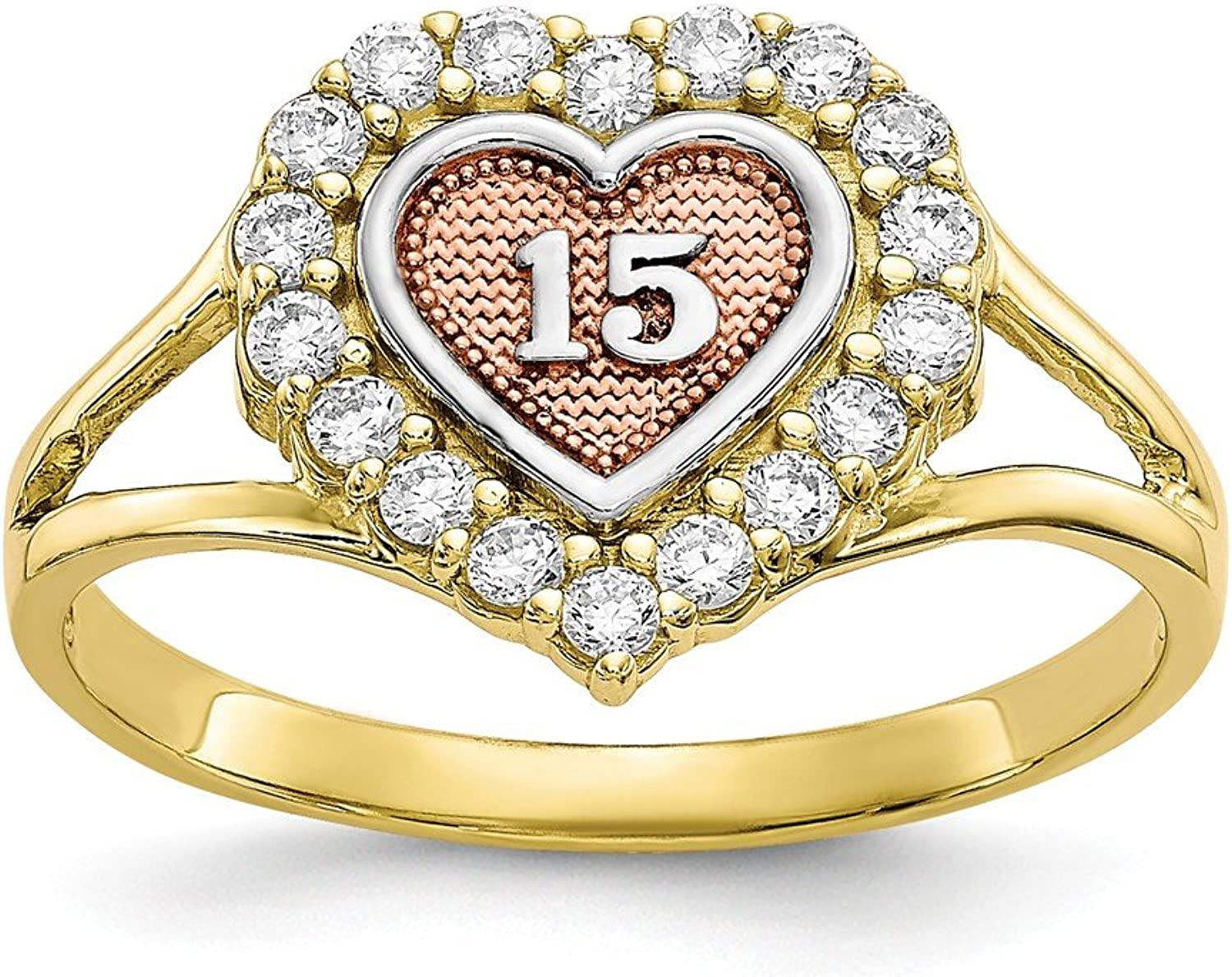 Beautiful White and yellow gold 10K Whiteandyellowgold 10k Twotone Sweet 15 Heart Ring