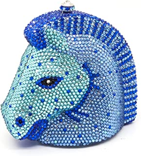 FengheYQ Luxury Full Color Solid Color Diamond Banquet Evening Bag Lady Horse Head Style Banquet Wedding Clutch Bag Bride Metal Chain Shoulder Bag Pu Wallet Size: 13 * 8 * 13cm (Color : Blue)