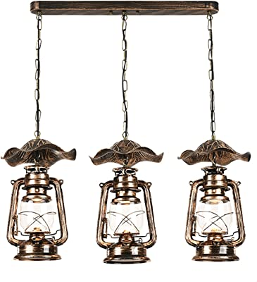 RAING Accesorios de iluminación colgante Retro Vintage hierro forjado lámpara de cristal de queroseno cortinas de