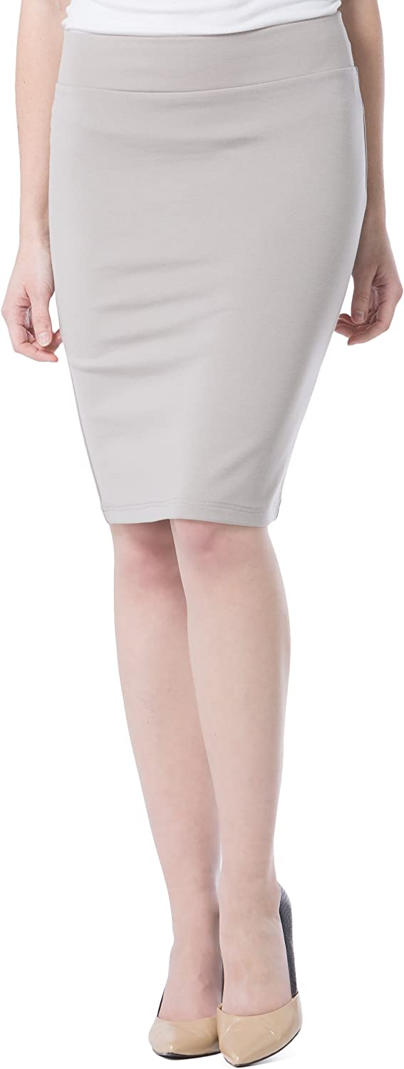Fishers Finery Women's Ecofabric Ponte Pull On Stretch Pencil Skirt; Fitted