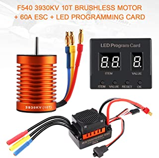 F540 3930KV 10T Brushless Motor 4 Pole with 60A ESC Electric Speed Controller and LED Programming Card Waterproof Combo Set 3.175mm Shaft for 1/10 RC Car Flat Drifting Car 2S Lipo Battery