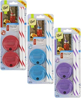 Ball Mason Jar Sip & Straw Lids Set – BPA-Free & Dishwasher Safe - Great for Toddler, Kids & Adult Drinks, Fits Regular Mouth Jars, Reusable Set of 4, Red, Blue, Purple – 3 Pack