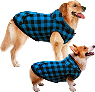 ASENKU Dog Winter Coat Thicker Fleece Dog Hoodie Jacket British Plaid Pet Warm Outfit with Removable Hat Windproof Vest for Small Medium Large Dogs