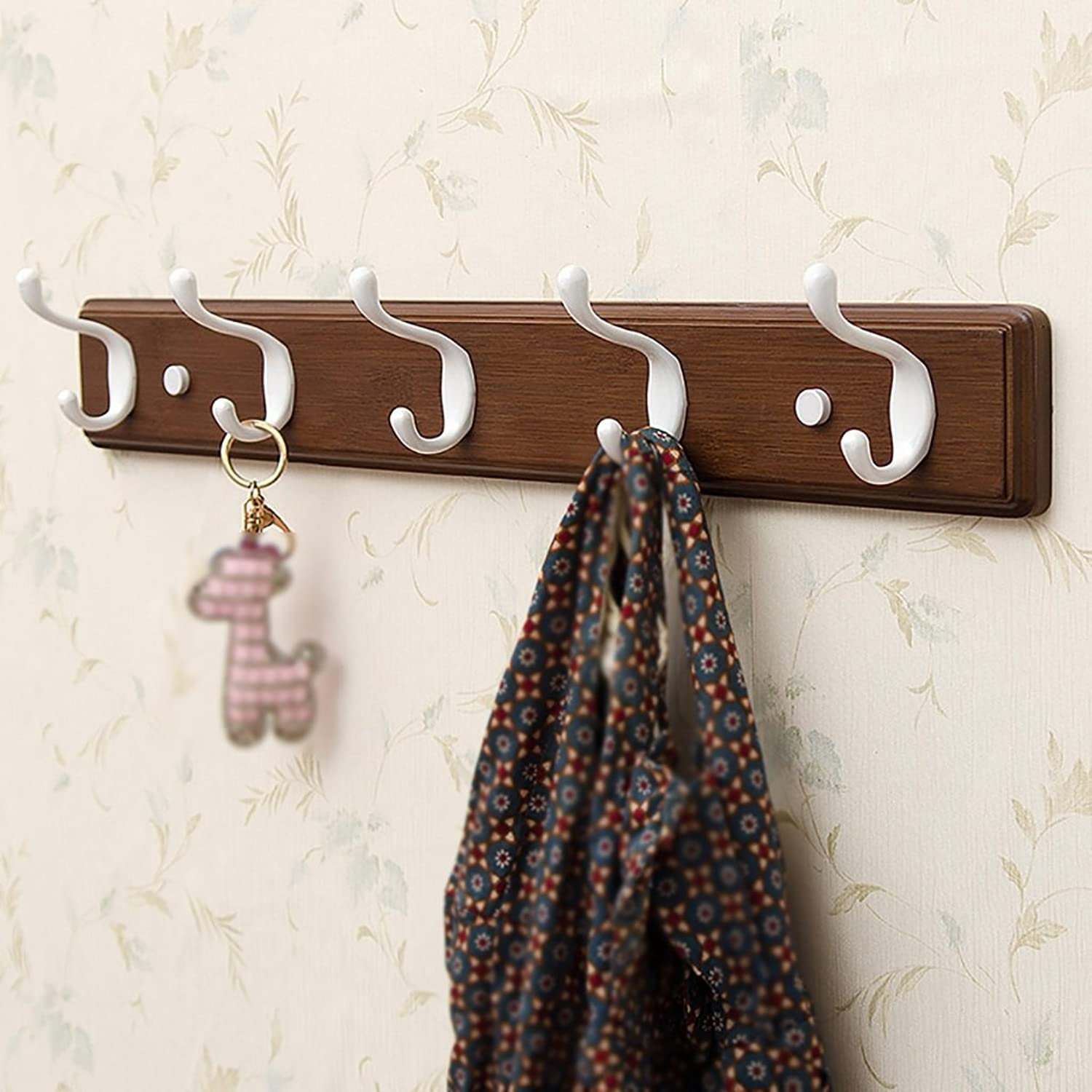 LXLA- Shelf Hangers Coat Rack Hook Up Double Wood Bamboo Wall-mounted White,Brown,Black (Available 3,4,5,6,Hooks,35.5 48.2 61 73.8  7.8  8 cm) ( color   Vintage color , Size   5 hooks )