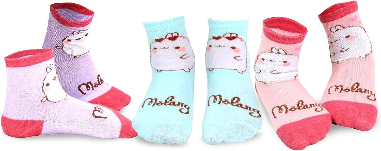 Molang Girls' Cute Fun Silly Cartoon Animal Crew Socks - 3 Pair