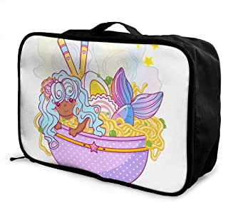 OWZI Customized Foldable Cube Travel Bag Fashion Lightweight Large Capacity Portable Luggage Bag (Kawaii Ramen Art in Plate with Noodles Egg Chopsticks Stars),15