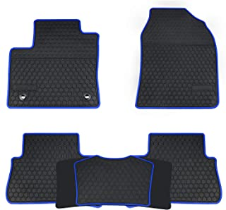 San Auto Car Floor Mats Custom Fit for Toyota C-HR 2017 2018 2019 Black Navy Blue Rubber Car Floor Liners Set All Weather Protection Heavy Duty Odorless
