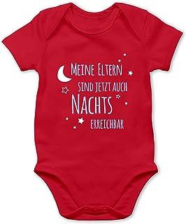 Shirtracer Sprüche Baby - Meine Eltern sind jetzt auch Nachts erreichbar blau - Baby Body Kurzarm für Jungen und Mädchen