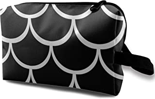 Fish Pattern Black And White Collection Travel Makeup Cute Cosmetic Case Organizer Portable Storage Bag for Women