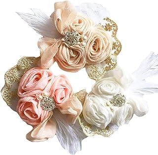 DANMY Baby Girl Super Stretchy Headband Big Lace Petals Flower Baby Hair Band Newborn Hair Accessories (Gauze (3pcs))