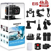 UPGRADED WONGKUO Action Camera 4K 20MP Ultra HD EIS...