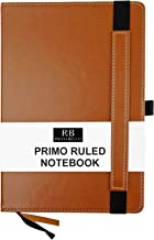 RICCO BELLO Primo Hardcover Ruled A5 Notebook, Thick Paper, Pen Loop, 5.7 x 8.4 inches, Brown