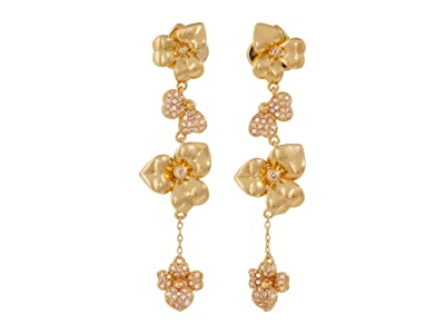 Kate Spade New York Precious Pansy Pave Linear Earrings (Clear/Gold) Earring