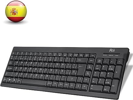 Rii RK901 Wireless Teclado (layout Español) Teclado inalámbrico para Windows, Android, Chrome y Smart TV, QWERTY Español, color negro