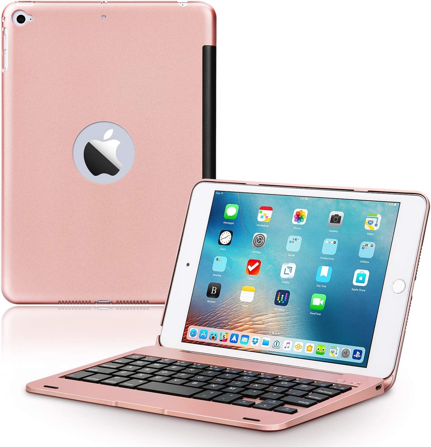 ONHI Wireless Keyboard Case for iPad Mini 5 / Mini 4 Keyboard Case Plastic Alloy Shell Smart Folio Case Auto Sleep/Wake, Silent Typing (Mini 4/5 Rose Gold)