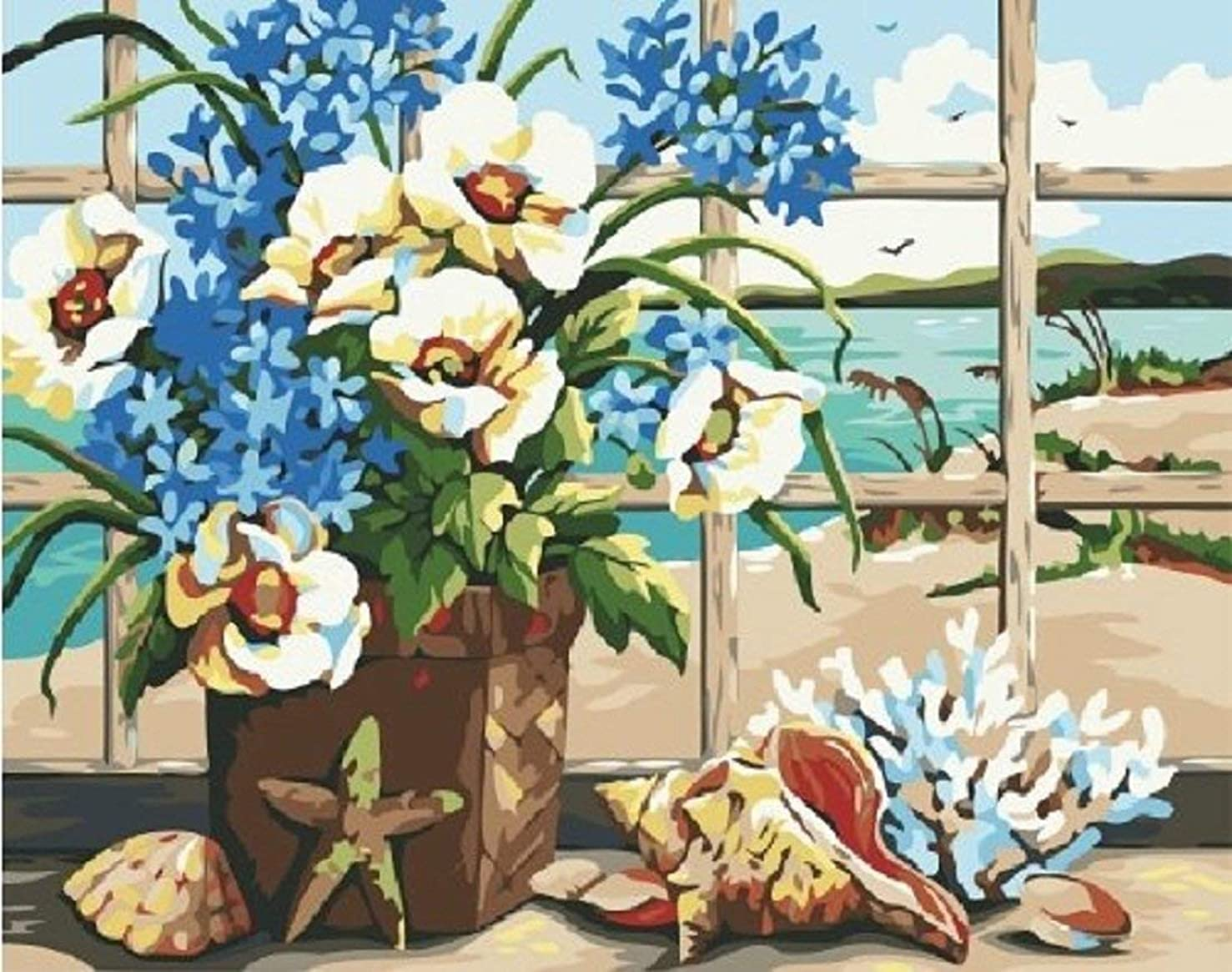 Dorara DIY Oil Painting for Adults Kids Paint By Number Kit Digital Oil Painting Seaside Still Life 16x20 Inches