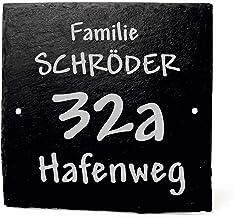 Decolando Houten bordje met gravure - familienaam straatnaam huisnummer   leisteen deurbordje 11 x 11 cm