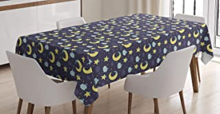 Ambesonne Saying Tablecloth, Sleeping Moons Clouds Stars with Hats Night Composition, Rectangular Table Cover for Dining Room Kitchen Decor, 60