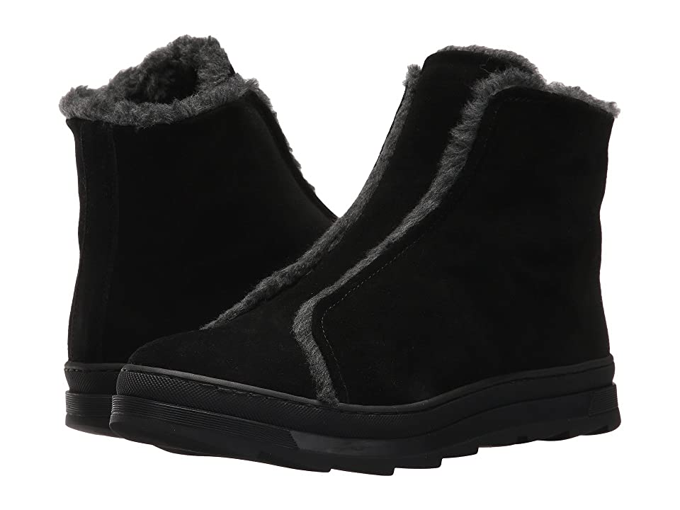 Sesto Meucci Virina (Black Calf Suede/Grey Fur/Black Sole) Women