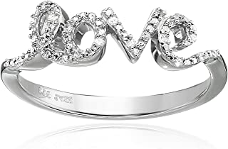 Sterling Silver Diamond Love Ring (0.05 cttw, I-J Color, I2-I3 Clarity)