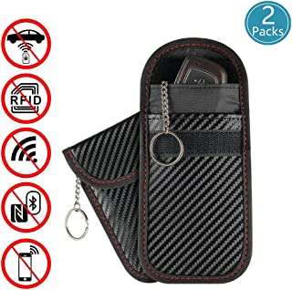 2 Pack Faraday Bag for Car Key Fob,Kitmate Premium Faraday Bag Key Fob Protector,RFID Signal Blocking, Anti-Theft Pouch, Anti-Hacking Case Blocker (Carbon Fiber Texture)