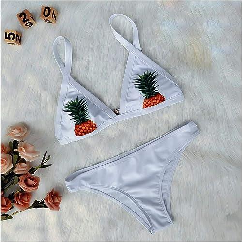 PANGU-ZC Bikini-mode Femmes Maillot de Bain Petit Maillot de Bain Frais Bikini Sexy Split Ananas Imprimer Bikinii Maillot - Bikini 6075 (Taille   M)