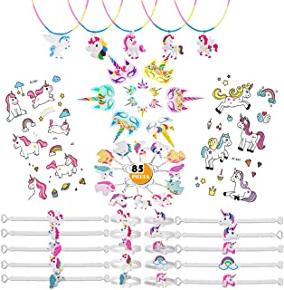 Unicorn Masks Themed Party Favors for Kids, 85 Pcs Unicorn Assortment Items for Girls Birthday Party Supplies Classroom Carnivals Prizes Goodies Bag Fillers, Rainbow
