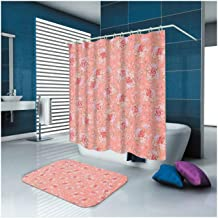Epinki Polyester Bathroom Curtain Set Rose Red Flower Durable Shower Curtain with 12 Hooks Size 150x180CM Shower Curtain f...