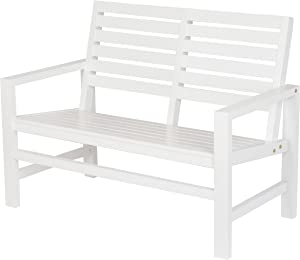 "Shine Company 4224WT Contemporary Garden Bench, 40"", White"