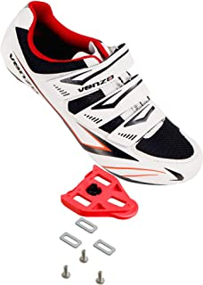 Venzo Bicycle Men's Road Cycling Riding Shoes - 3 Straps- Compatible with Peloton Shimano SPD & Look ARC Delta - Perfect for Road Racing Bikes White Color