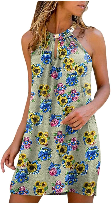 FABIURT Dresses for Women Summer, Womens Fashion Halter Neck Sleeveless Sundress Ruffle Swing Casual Mini Short Dresses