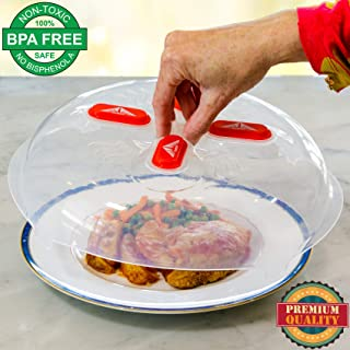 Magnetic Microwave Plate Cover Splatter Guard with Steam Vents and Strong Magnets. Safe BPA Free Microwave Cover. Large Plastic 11.8 inch Food Cover. Anti Splash Lid Keeps Microwave Oven Clean