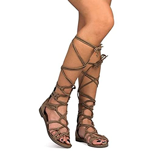 db8fdd6b39f01 Breckelles DG23 Women Suede Knotted Peep Toe Lace Up Wrap Gladiator Flat  Sandal