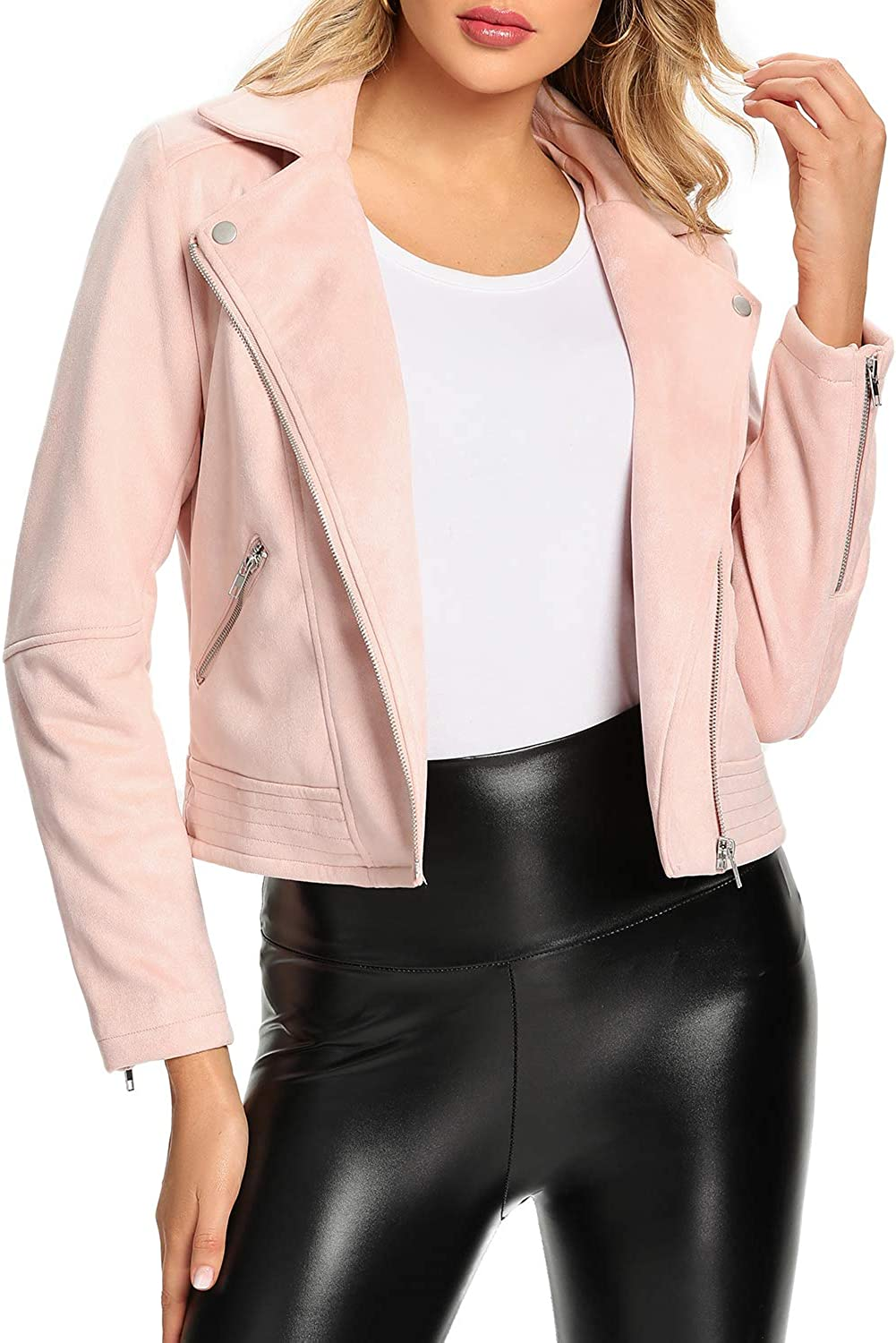 New Free Shipping S P Y M Women's Max 56% OFF Faux Suede Jackets Casual Sleeve Zipper Long Up