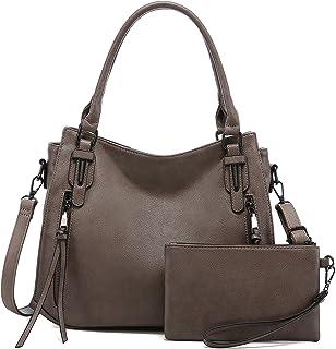 Realer Handtaschen Damen Lederimitat Umhängetasche Designer Taschen Hobo Taschen Mittel Grau Braun