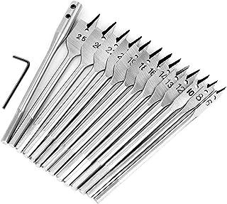 15pcs Full Steel Hex Shank Spade Flat Wood Drill Bit Set for Metal 6-25mm High Speed Steel Wood Drilling Power Tools Kit