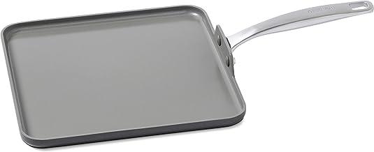"GreenPan CC000124-001 Chatham 11"" Ceramic Non-Stick Square Griddle, Grey"