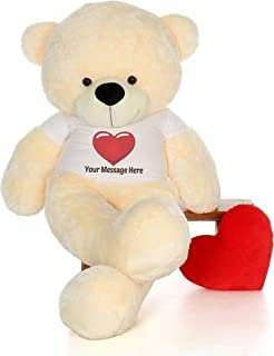 Giant Teddy Personalized Life Size 6 Foot Bear Cuddles with Red Heart T-Shirt (Vanilla Cream)