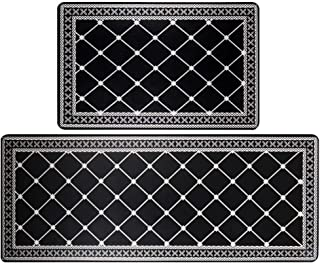 HEBE Anti Fatigue Kitchen Rugs and Mats Set 2 Pieces Thick Cushioned Heavy Duty Standing Mats Kitchen Floor Mats and Runne...