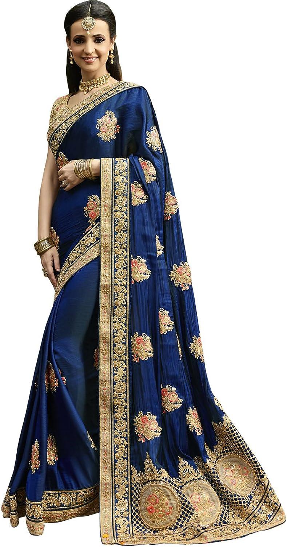 Exclusive Indian Ethnicwear Art Dhupion Silk Royal bluee Coloured Handloom Saree