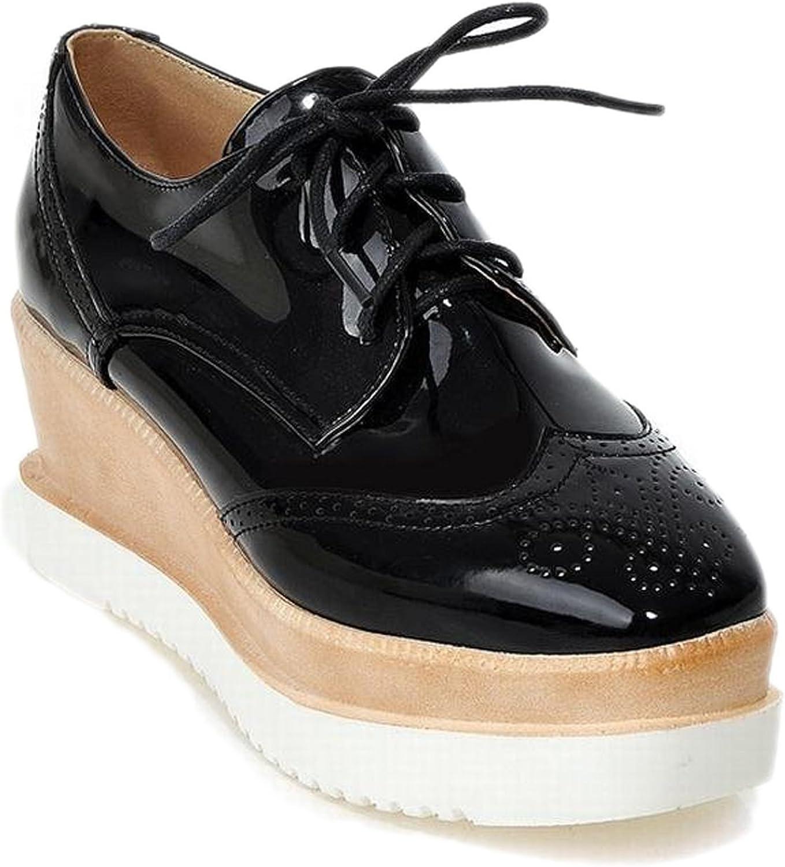Zalezing Comfortable Women's Lace-up Platform Wedge Heel Carved Oxfords shoes Pumps