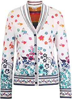 IVKO Floral Rhapsody Pattern V-Neck Jacket in White Cotton Button Up Cardigan Sweater