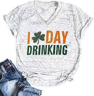 HRIUYI Funny St. Patrick's Day Shirts Women I Day Drinking V Neck Tees Cute Graphic Plaid Shamrock Top Shirt