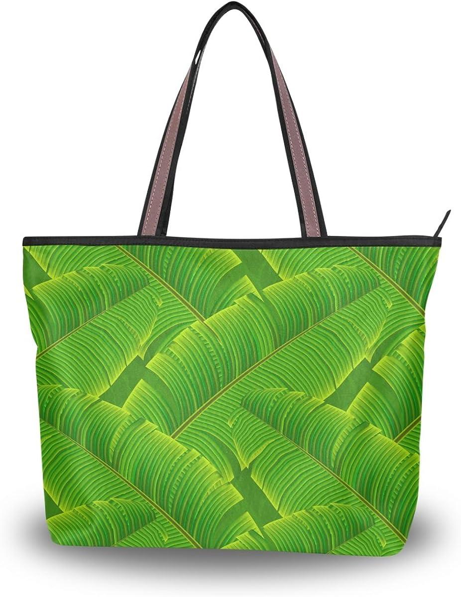 JSTEL Women Large Tote Top Handle Shoulder Bags Tropical Banana Leaves Patern Ladies Handbag
