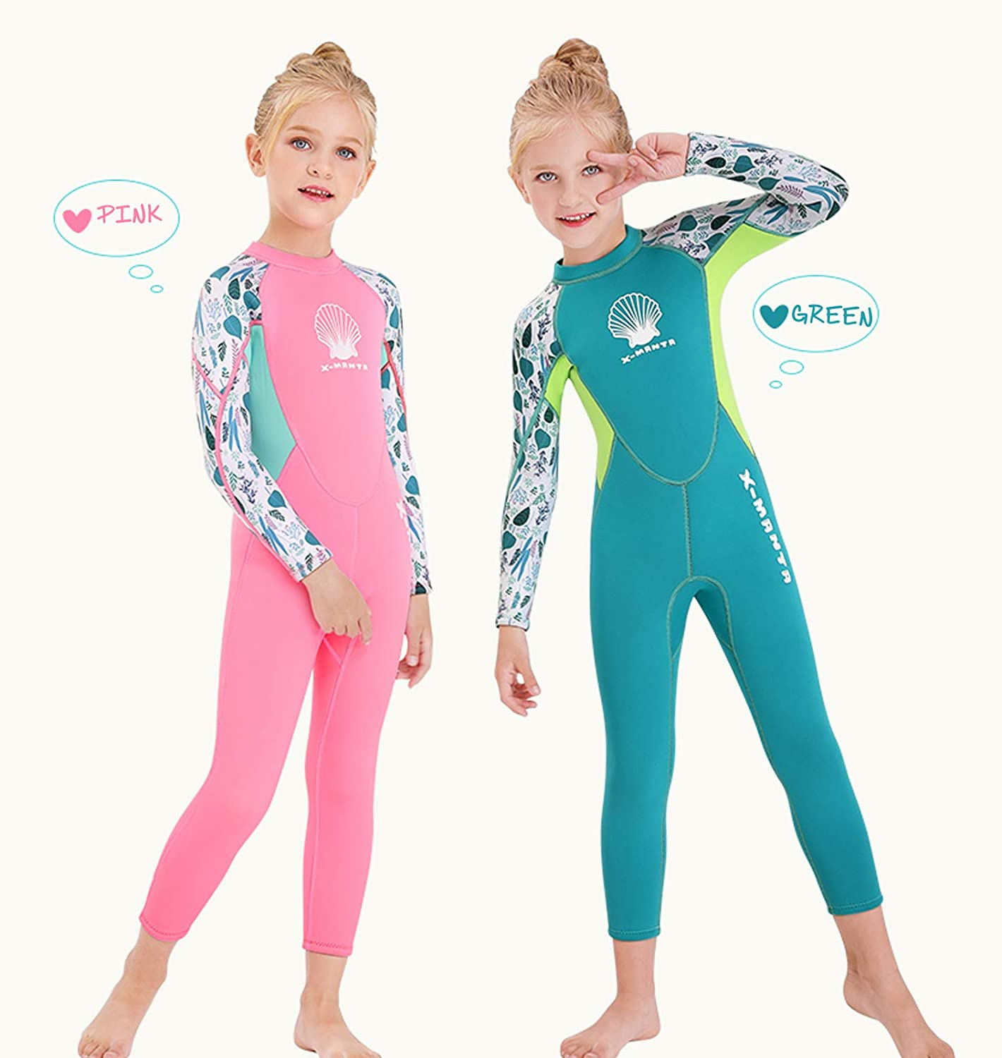 OUTYFUN Wetsuit Kids Boys Girls 2.5mm Neoprene One Piece Thermal Swimsuit Full Long Sleeve Wet Suits for Toddler Child Junior Youth Swim Surf Dive