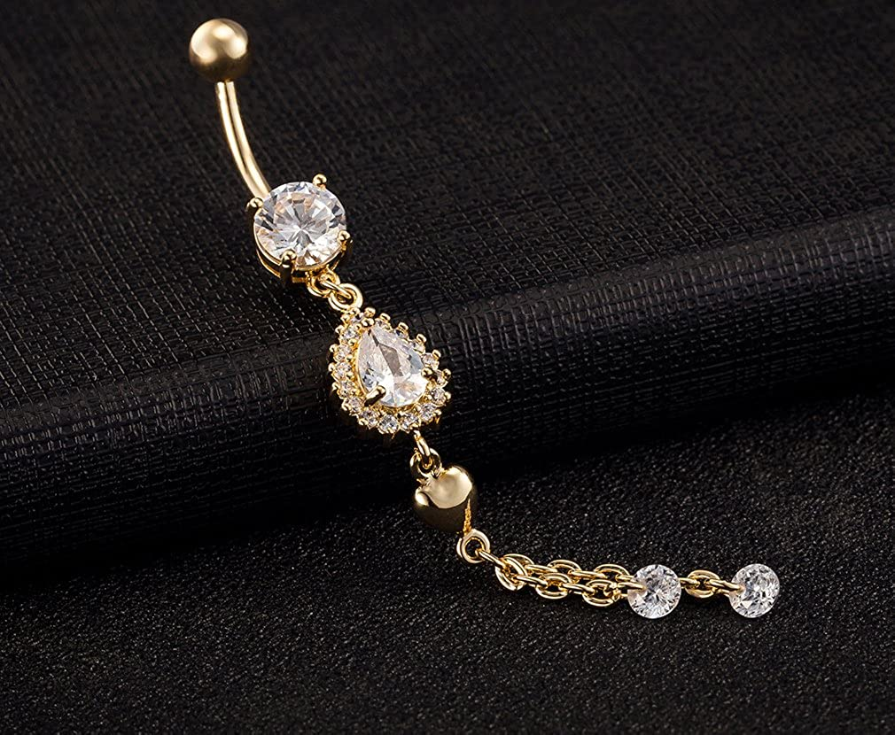QTALKIE Long Dangling Bling Crystal Belly Rings Piercing Jewelry Steel Body Dangle Belly Bellow Button Navel Ring