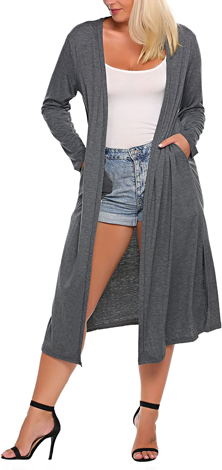 IN'VOLAND Women's Plus Size Long Sleeve Draped Open Front Solid Cardigan Sweater