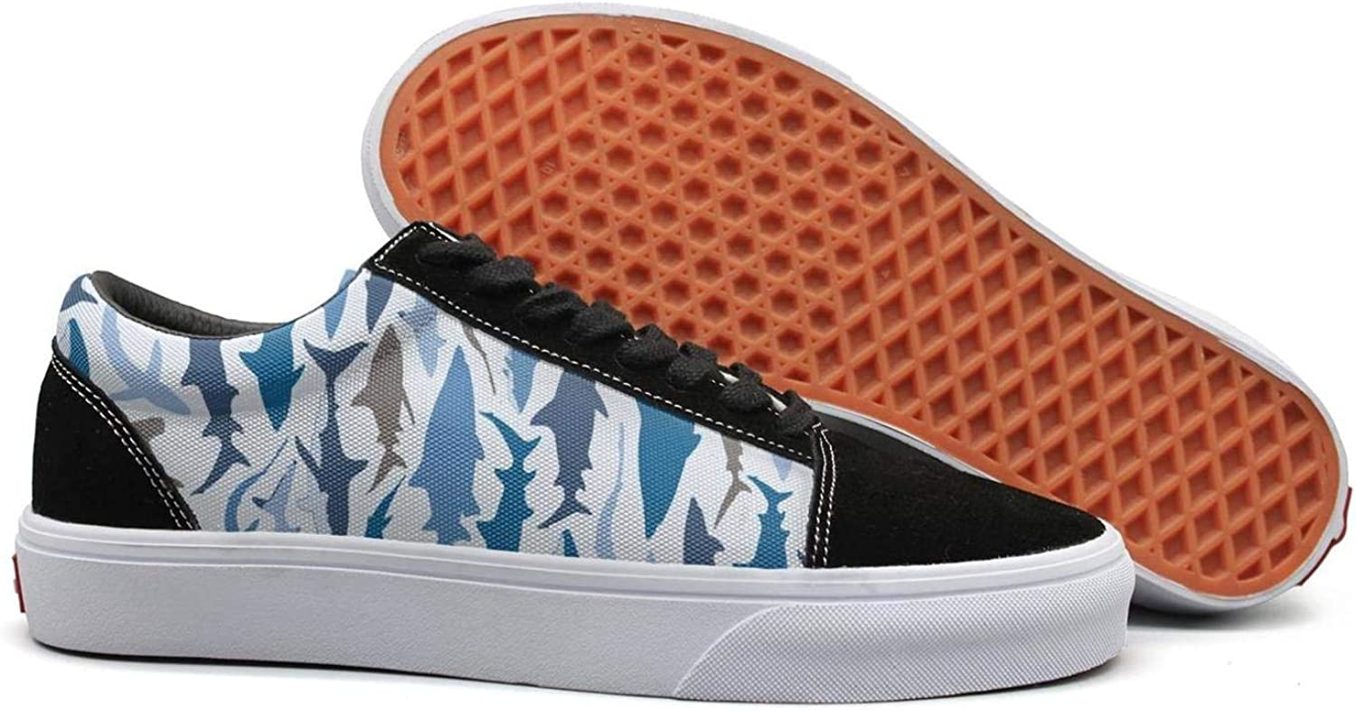 Winging Women Sharks camo bluee and Grey Retro Suede Casual shoes Old Skool Sneakers
